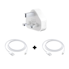 Picture of Apple iPhone  X/ XS/ XS Max Power Charging Adapter and 2 USB Lightning Cables