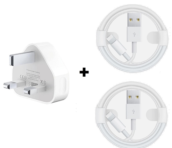 Picture of Apple iPhone  XS, X, 8, 8+, 7, 6, 5 Power Charging USB Adapter and 2 USB Lightning Cables