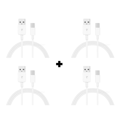 Picture of Pack Of 4 Genuine Samsung C-Type USB Cable White