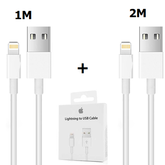 Picture of iPhone Charger Cable Lightning Cable White 1M & 2M [Pack of 2]