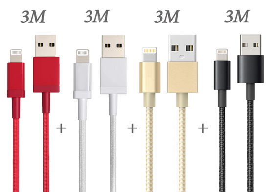 Picture of Apple iphone lightning 4 Pack 1 x 3m Red, 1 x 3m Black, 1 x 3m Gold and 1 x 3m Silver  charging cable for iPhone XR XS X 11 Pro Max 10 8 7 6s 6 Plus 5s 5 SE 2020 iPad iPod