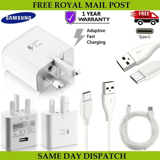 Picture of Genuine Samsung Fast Charger Plug & 1M Type C USB Data Cable For Galaxy Phones Series