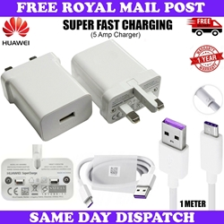 Picture of Genuine Huawei P30 P20 Pro Lite Super Charge Fast Mains Charger Plug USB-C Cable
