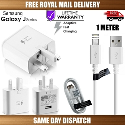"Picture of Genuine Samsung Fast Charger Plug &1M USB Cable For Galaxy ""J"" Series Phones Lot"