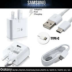 Picture of 100% GENUINE FAST CHARGER PLUG & USB C TYPE CABLE FOR SAMSUNG GALAXY PHONES TABS