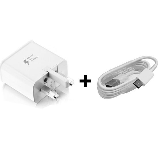 Picture of Genuine Fast Charger Plug & 2M USB-C Cable For Samsung Galaxy Note 9 Note 8 Lot