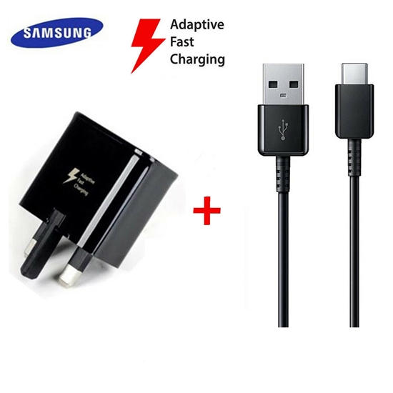 Picture of Genuine Samsung Fast Wall Charger Plug & 2M USB-C Cable For Galaxy S10 S10+ Pluss10