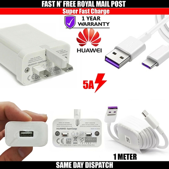 Picture of Genuine Huawei Super Fast 5A Charger & USB Type C Cable For P40 P30 P20 Pro Lite